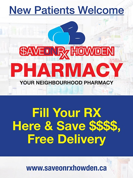 save on rxhealth pharmacy at Howden Medical Clinic and Pharmacy in Brampton